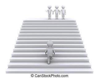escadas, escalar, juntar, equipe