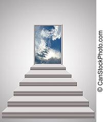 escadas, guiando, para, a, céu
