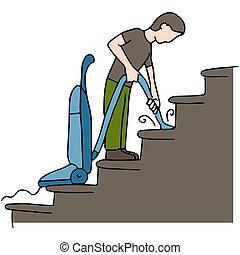 escadas, limpeza