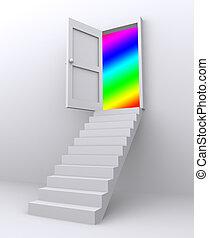 escadas, mundo, porta, através, novo