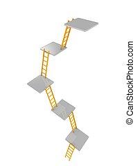 escadas, nível