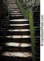escadas, para, medieval, cadeia
