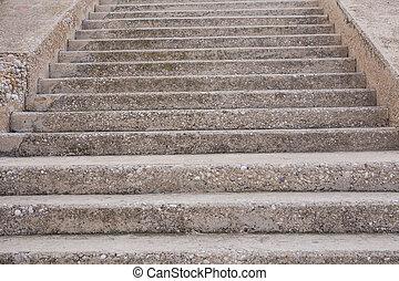 escadas, passos, abstratos, city.