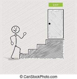 escadas, saída, homem