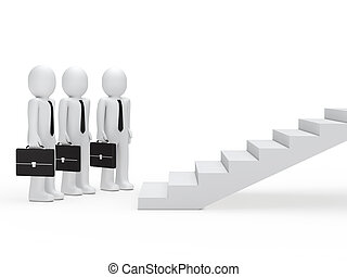 escadas, três, homens negócios