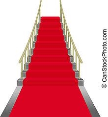 escadas, vermelho