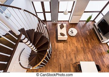 escadas, vivendo, curva, sala, espaçoso