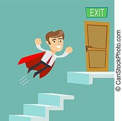 escadas., voando, cima, homem negócios, escalando, capa, super, vermelho