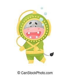 escafandra autónoma, llevando, ilustración, vector, salto subacuático, traje, lindo, hipopótamo