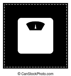 escala banheiro, isolated., sinal., remendo, experiência., pretas, branca