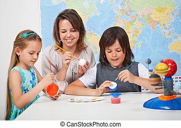 escala, class-, ciência, foco, sistema, crianças, solar, fazer, menina, rosto, modelo