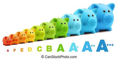 escala, coloridos, energia, eficiência, poupança, piggy,...