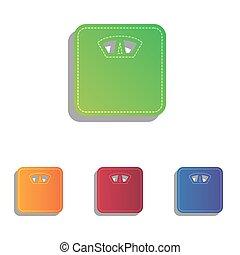 escala cuarto baño, iconos, signo., colorfull, applique, set.