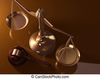 escala de la justicia, y, martillo