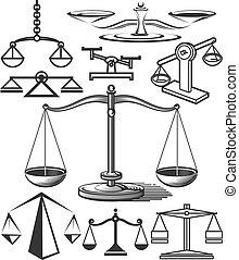 escala, el balancear, colección