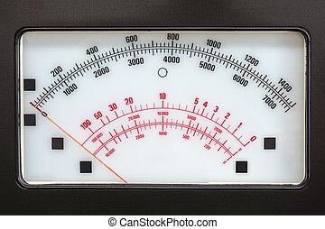 escala, medida, sistema, análogo, retro