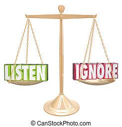 escala, ouro, 3d, ignore, vs, palavras, equilíbrio, escutar