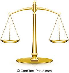 escala, ouro, peso, ícone