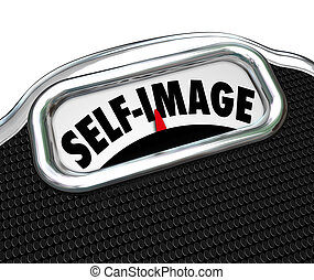 escala, peso consciente, sí mismo, exhibición, perder, imagen