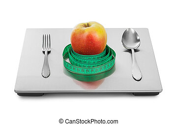 escala, peso, frutas