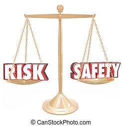 escala, riesgo, peligro, el comparar, contra, seguridad,...