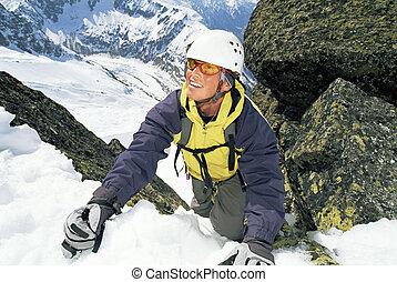 escalade, alpiniste, escarpé, slope.