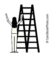 escalade, blanc, femme, escalier, fond