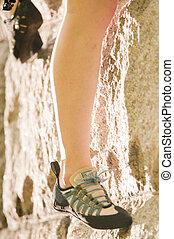 escalade, chaussure, rocher
