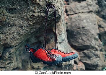 escalade, chaussures, rocher