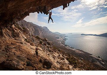 escalade, coucher soleil, grimpeur, rocher