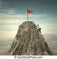 escalade, drapeau