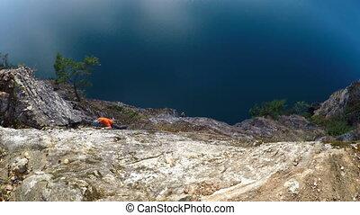 escalade, grimpeur, 4k, falaise, rocher