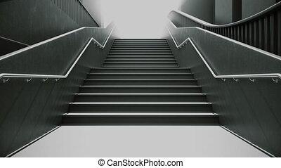 escalade, les, noir, escalier, à, blanc, light., ambitions,...