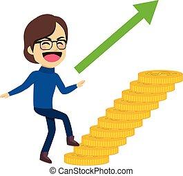 escalade, monnaie, escalier, homme, argent