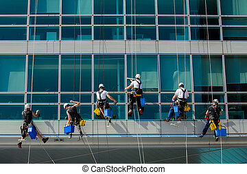 escalade, ouvriers, sur, bâtiment bureau
