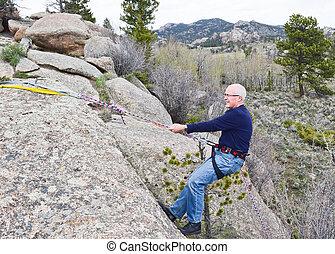 escalade, personne agee, 2, retiré, rocher