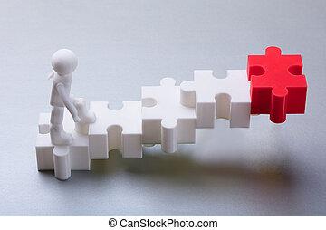 escalade, puzzle, puzzle, figure humaine