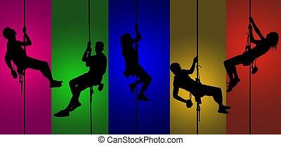 escalade, silhouettes, fond