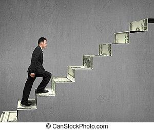escalade, sur, argent, escalier