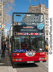 escalade, touristes, autobus