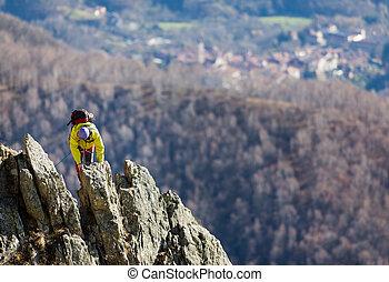 escalador, ápice, cume, estimulante, luta