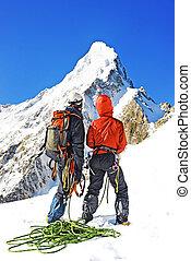 escalador, ápice, dois, alcançar