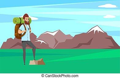 escalador, barba, posição homem, sorrindo, rocha