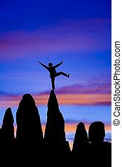 escalador, equilíbrios, ligado, a, summit.