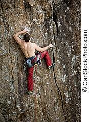 escalador masculino, rocha