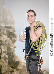escalador pedra, com, equipamento