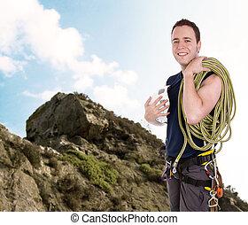 escalador pedra, com, equipamento, incluindo, corda, couraça, e, capacete