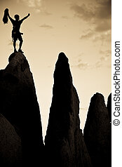 escalador pedra, ligado, a, summit.