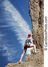 escalador, rocha