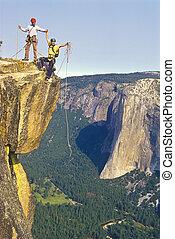 escaladores, summit., equipe